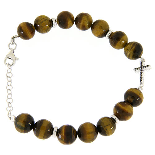 Bracelet with tiger's eye stones sized 9 mm, black zirconate cross and silver details 2