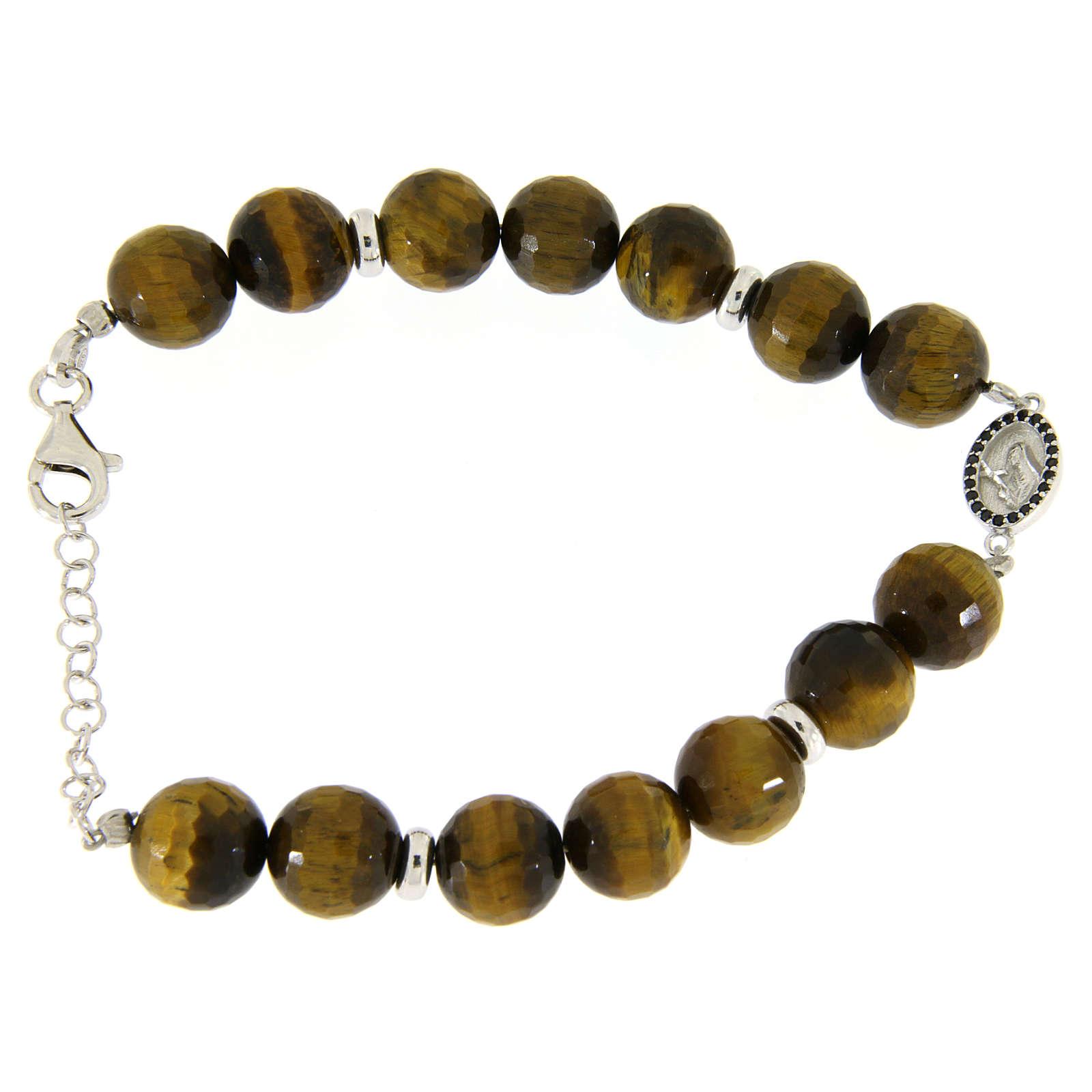 Bracelet with hard tiger's eye stone 9 mm, black zircon medalet in 925 sterling silver 4