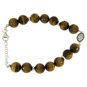 Bracelet with hard tiger's eye stone 9 mm, black zircon medalet in 925 sterling silver s1