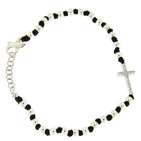 Silver bracelets: Bracelet with silver spheres, black cotton knots and white zirconate cross
