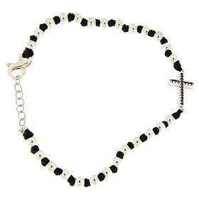 Silver bracelets: Bracelet with 3 mm spheres in 925 sterling silver with black cotton knots and black zirconate cross