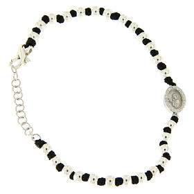 Silver bracelets: Bracelet with Saint Rita medalet in 925 sterling silver with 3 mm spheres and black cotton knots