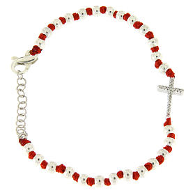 Silver bracelets: Bracelet with silver spheres sized 3 mm, red cotton knots and white zirconate cross