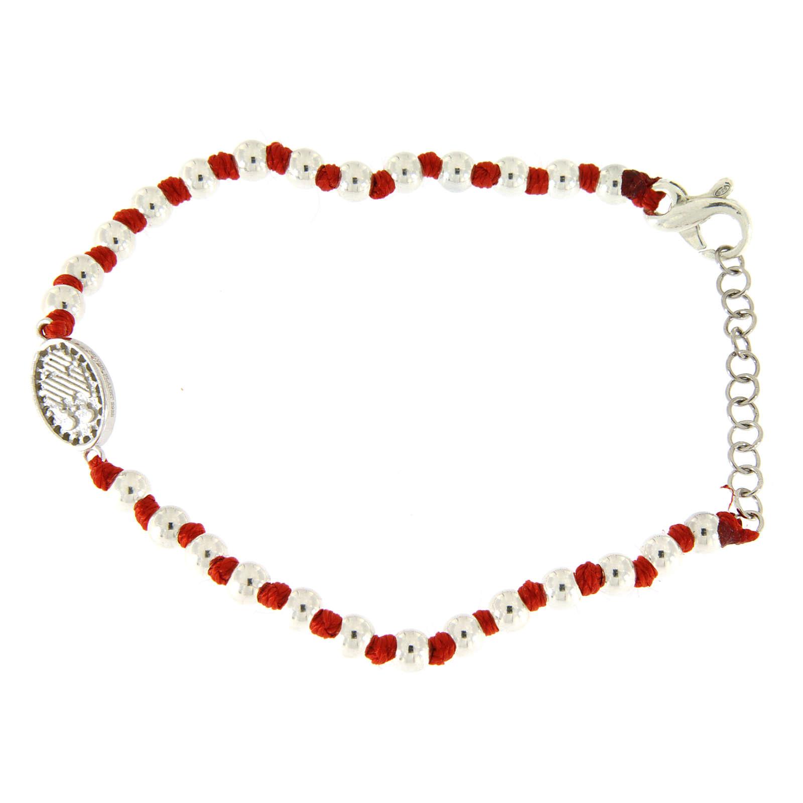 Bracciale medaglietta S. Rita zirconata bianca, sfere argento 3 mm e nodi cotone rosso 4