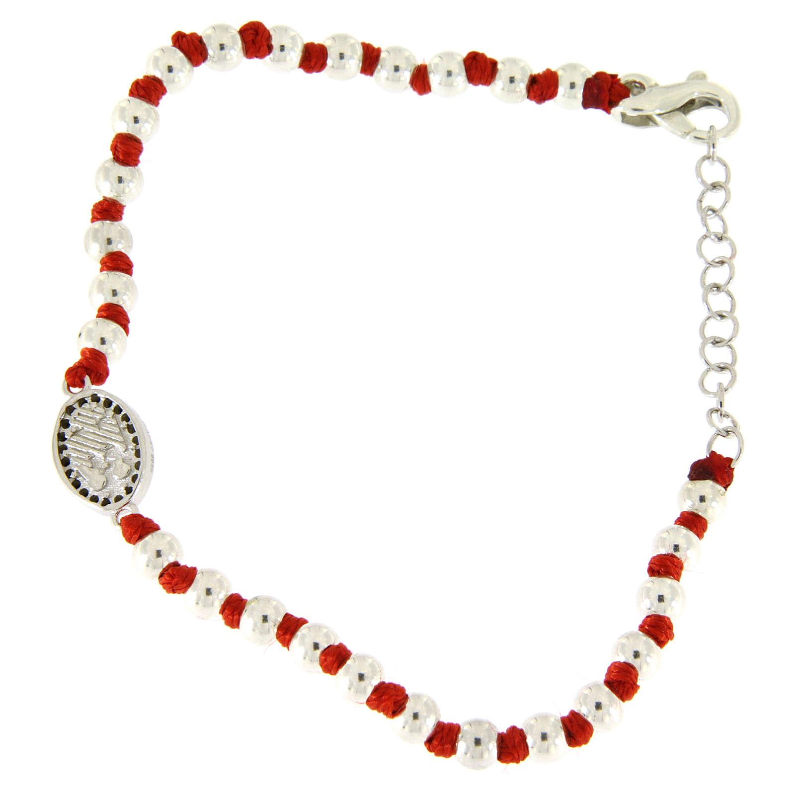 Pulsera pequeña medalla S. Rita plata y zircones negros, esferas plata 3 mm y nudos algodón rojo 4