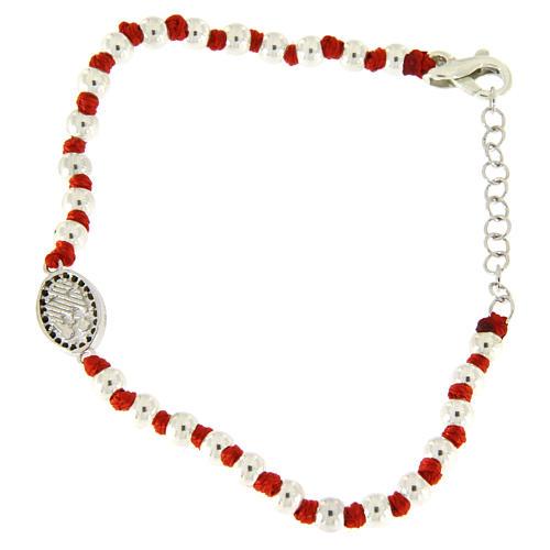 Pulsera pequeña medalla S. Rita plata y zircones negros, esferas plata 3 mm y nudos algodón rojo 2