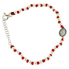Bracciale medaglietta S. Rita argento e zirconi neri, sfere argento 3 mm e nodi cotone rosso s1