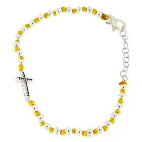 Silver bracelets: Bracelet with black zirconate cross and 3 mm silver spheres separated by yellow knots