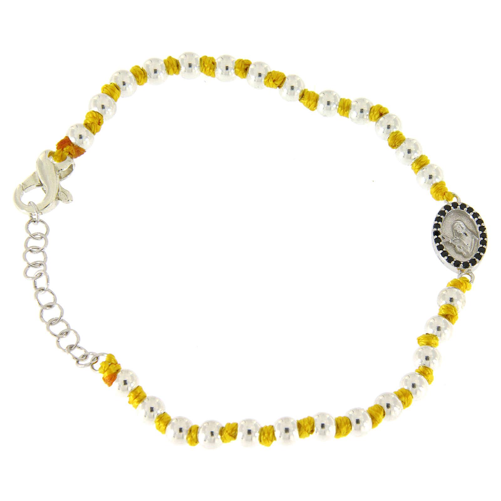 Pulsera pequeña medalla S. Rita zircones negros, esferas 3 mm de algodón amarillo con nudos 4