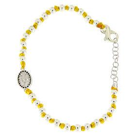 Pulsera pequeña medalla S. Rita zircones negros, esferas 3 mm de algodón amarillo con nudos s2