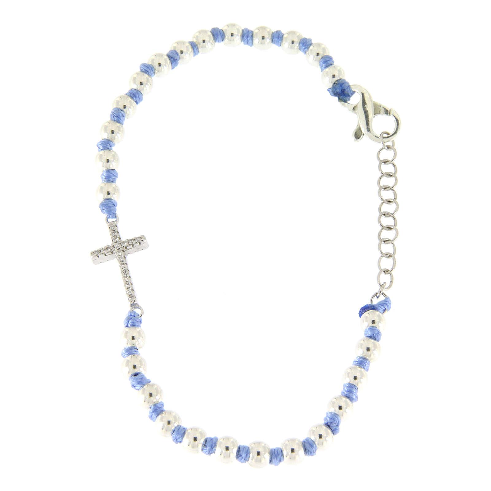 Bracciale con cordina e nodi azzurra con sfere 3 mm e croce argento, zirconata bianca 4