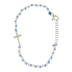Bracciale con cordina e nodi azzurra con sfere 3 mm e croce argento, zirconata bianca s2
