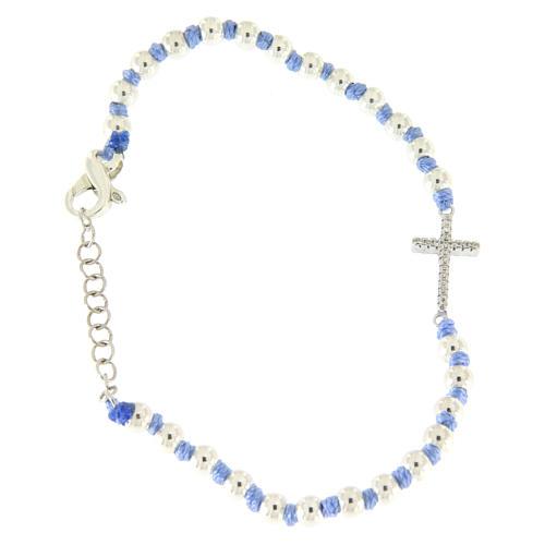 Bracciale con cordina e nodi azzurra con sfere 3 mm e croce argento, zirconata bianca 1