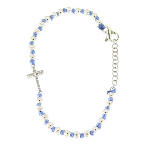 Bracciale con cordina e nodi azzurra con sfere 3 mm e croce argento, zirconata bianca 2