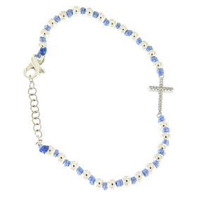 Silver bracelets: Bracelet with cord and light blue knots with 3 mm spheres and silver and white zirconate cross