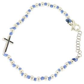 Bracciale con cordina e nodi azzurra, sfere 3 mm e croce argento con zirconi neri s1