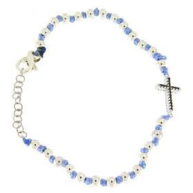 Bracciale con cordina e nodi azzurra, sfere 3 mm e croce argento con zirconi neri s2