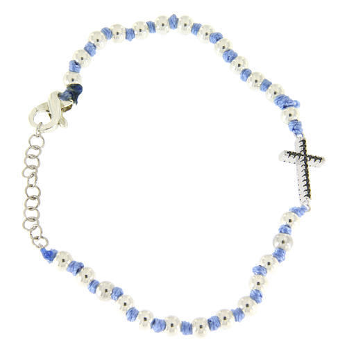 Bracciale con cordina e nodi azzurra, sfere 3 mm e croce argento con zirconi neri 2