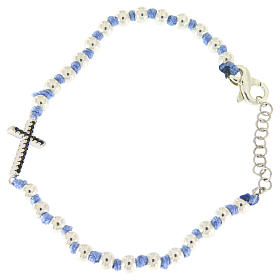 Silver bracelets: Bracelet with cord and light blue knots, 3 mm spheres and silver cross with black zircons