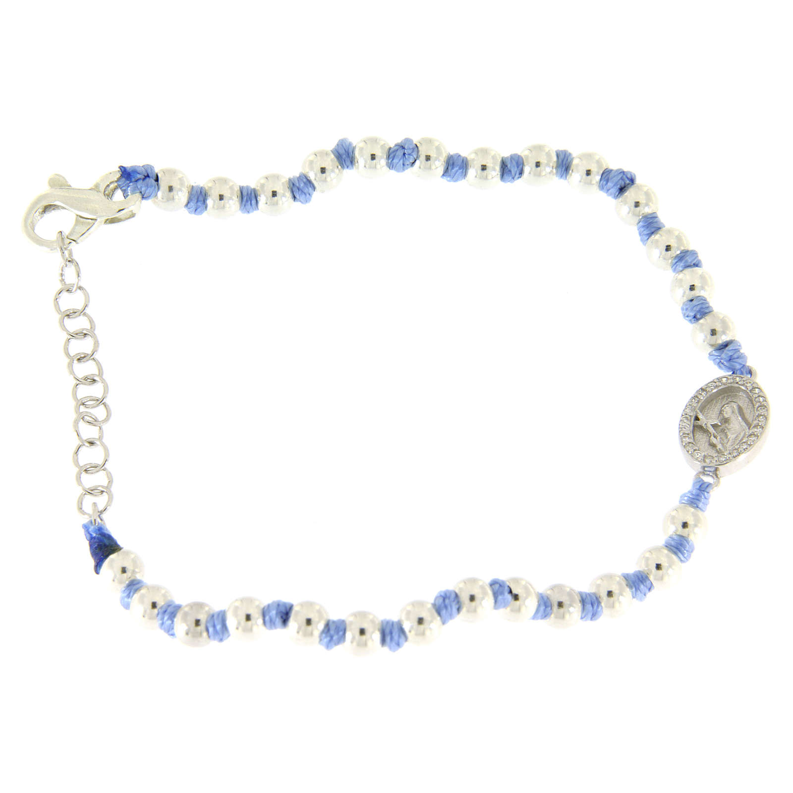 Bracelet with Saint Rita medalet in silver and white zircons, 3 mm spheres and light blue cotton knots 4