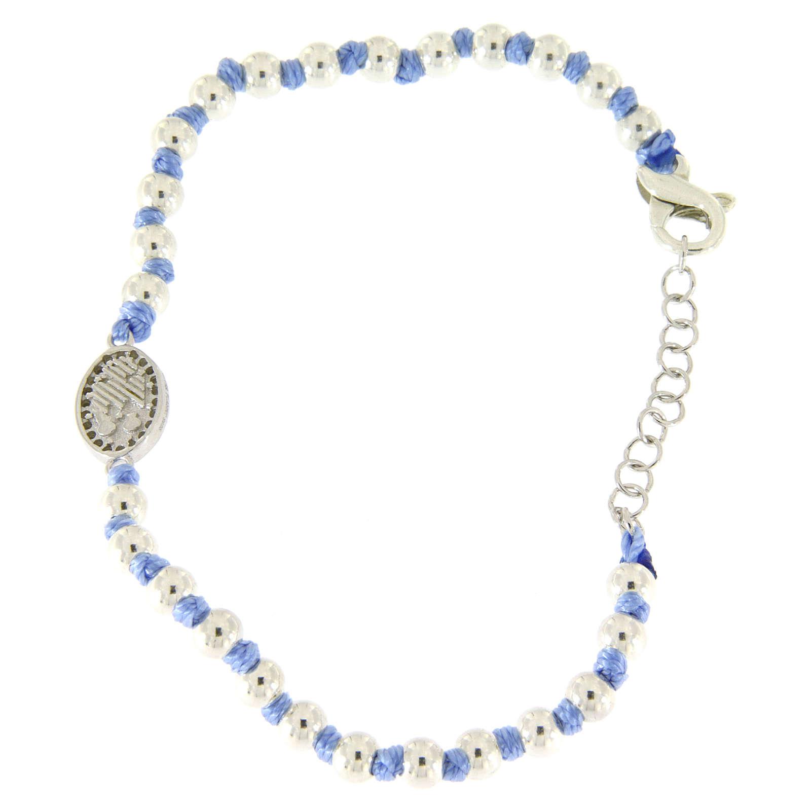 Pulsera pequeña medalla S. Rita plata y zircones blancos, esferas plata 3 mm y nudos de algodón azul 4