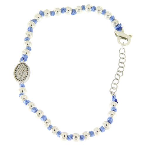 Bransoletka medalik Św. Rita srebro i cyrkonie białe, kulki srebro 3 mm i supełki bawełna błękit 2
