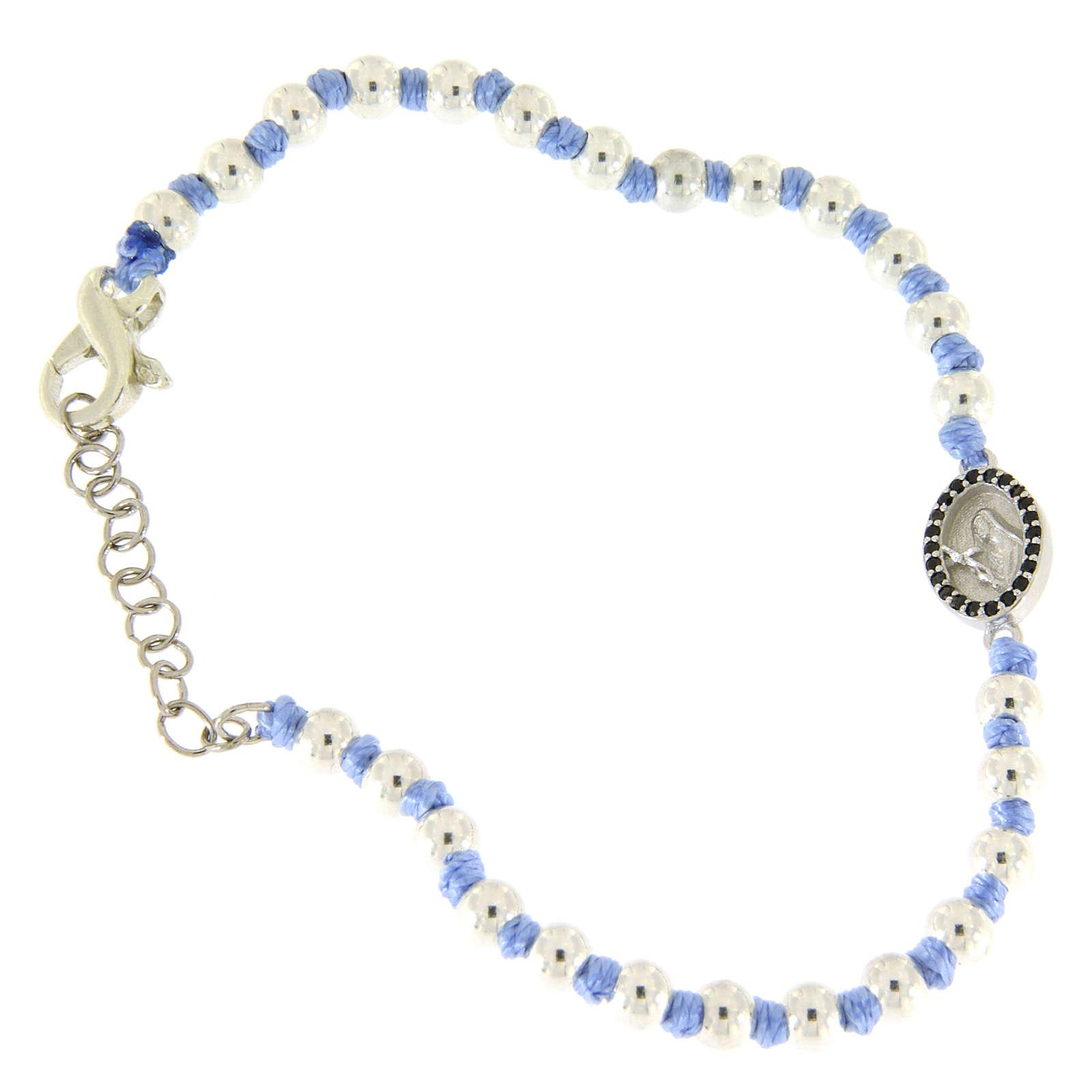 Bracciale medaglietta S. Rita argento e zirconi neri, sfere argento 3 mm inserite in cordina azzurra 4