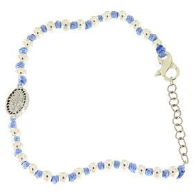 Bracciale medaglietta S. Rita argento e zirconi neri, sfere argento 3 mm inserite in cordina azzurra s2