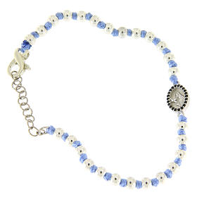Silver bracelets: Bracelet with Saint Rita medalet in silver and black zircons, 3 mm spheres and light blue cotton knots