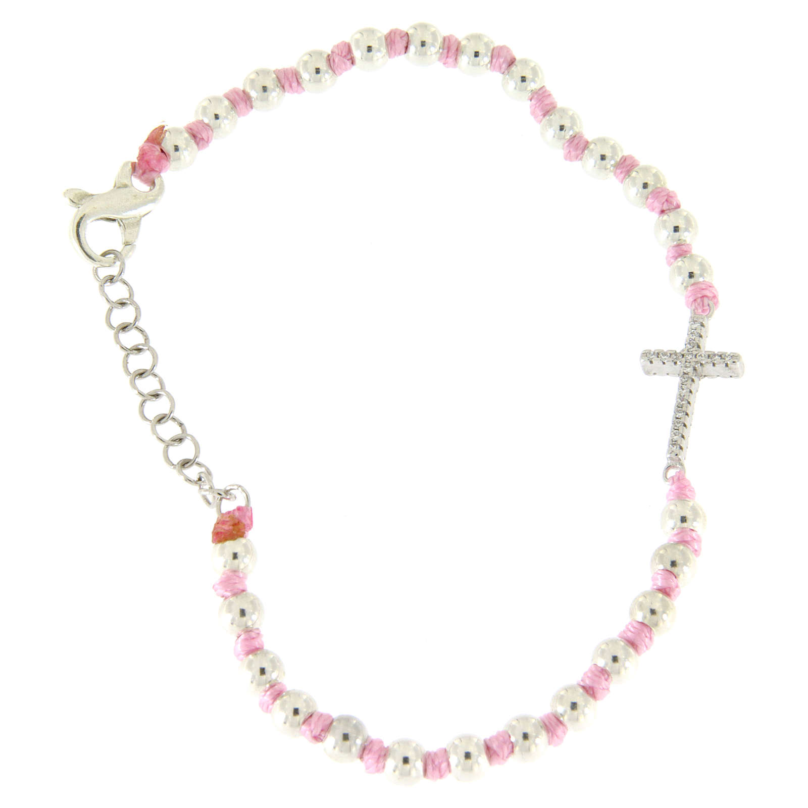 Bracciale croce argento e zirconi bianchi, sfere 3 mm separate da nodi cotone rosa 4