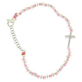 Bracciale croce argento e zirconi bianchi, sfere 3 mm separate da nodi cotone rosa s2