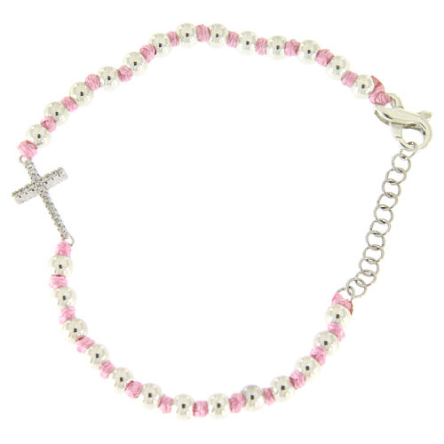 Bracciale croce argento e zirconi bianchi, sfere 3 mm separate da nodi cotone rosa 1