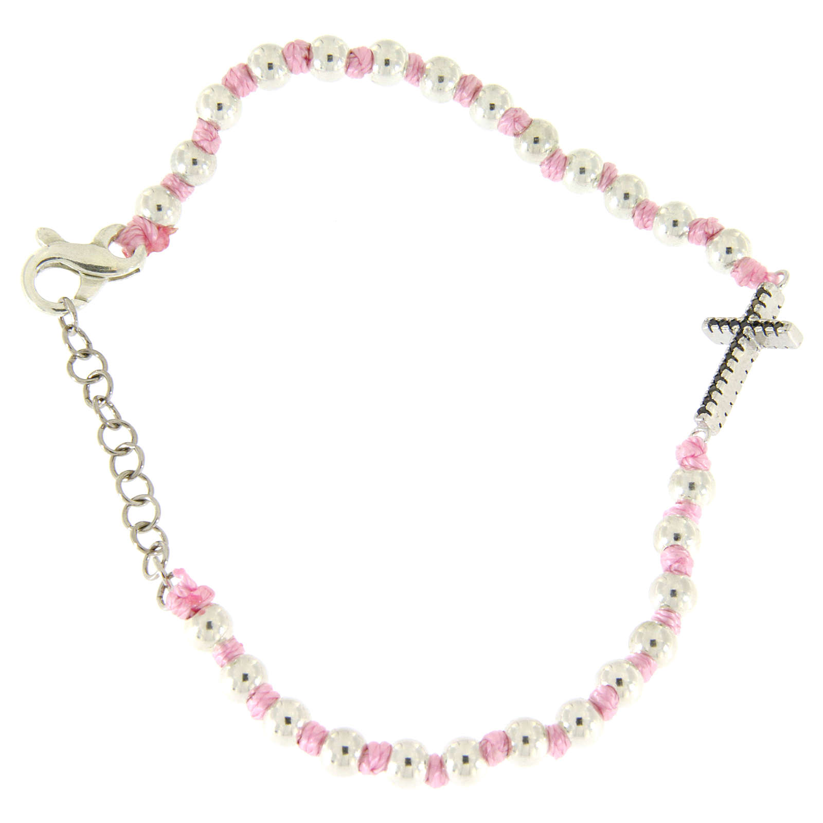 Bracciale croce argento e zirconi neri, sfere 3 mm in cordina di cotone rosa 4