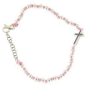 Bracciale croce argento e zirconi neri, sfere 3 mm in cordina di cotone rosa s2