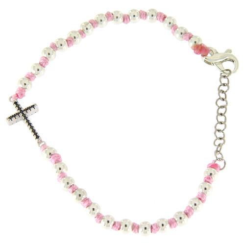 Bracciale croce argento e zirconi neri, sfere 3 mm in cordina di cotone rosa 1
