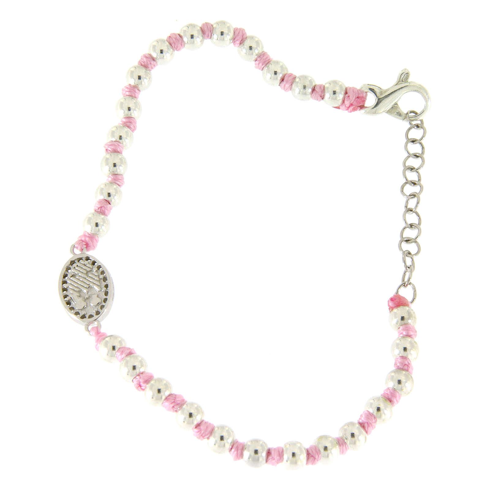 Bracciale con palline 3 mm argento, cordina in cotone rosa e medaglietta zirconata bianca S. Rita 4