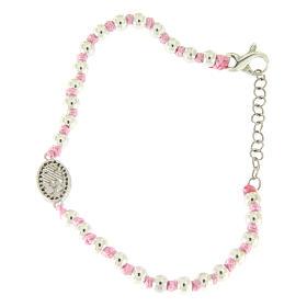 Bracciale con palline 3 mm argento, cordina in cotone rosa e medaglietta zirconata bianca S. Rita s2