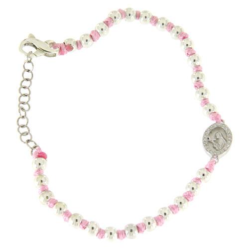Bracciale con palline 3 mm argento, cordina in cotone rosa e medaglietta zirconata bianca S. Rita 1