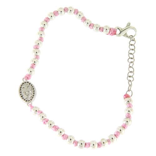 Bracciale con palline 3 mm argento, cordina in cotone rosa e medaglietta zirconata bianca S. Rita 2
