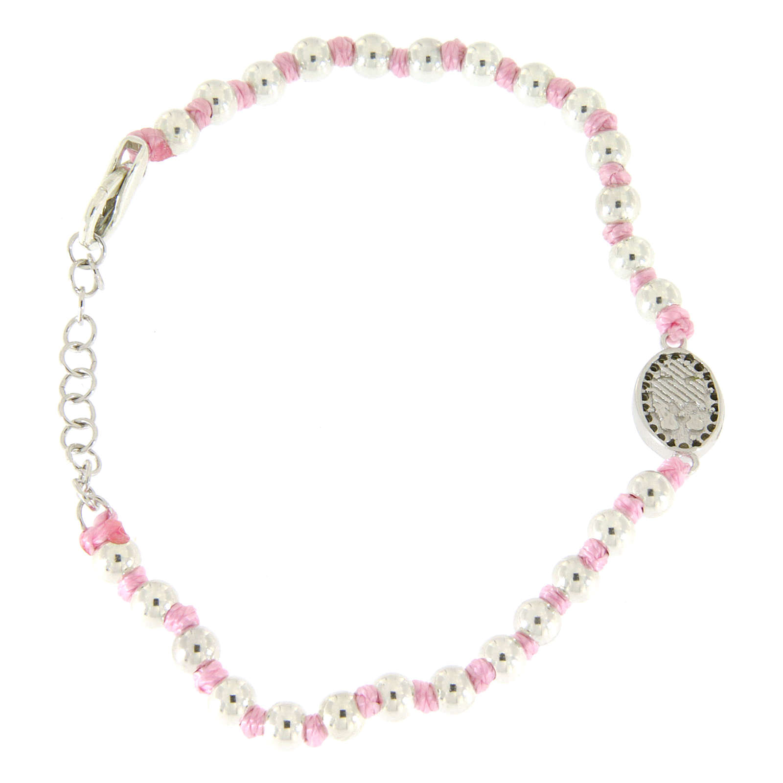 Bracciale con palline 3 mm argento, cordina in cotone rosa e medaglietta S. Rita zirconi neri 4