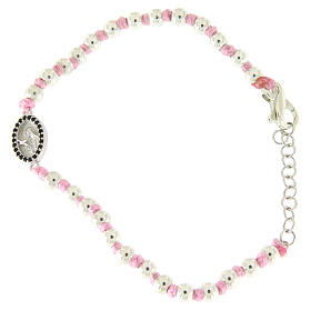Bracciale con palline 3 mm argento, cordina in cotone rosa e medaglietta S. Rita zirconi neri s1