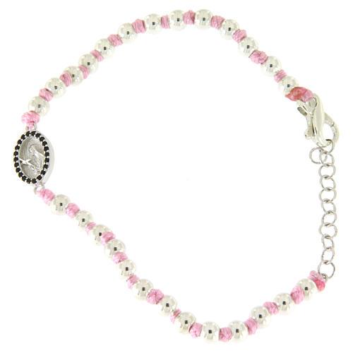 Bracciale con palline 3 mm argento, cordina in cotone rosa e medaglietta S. Rita zirconi neri 1