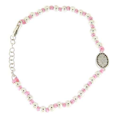 Bracciale con palline 3 mm argento, cordina in cotone rosa e medaglietta S. Rita zirconi neri 2