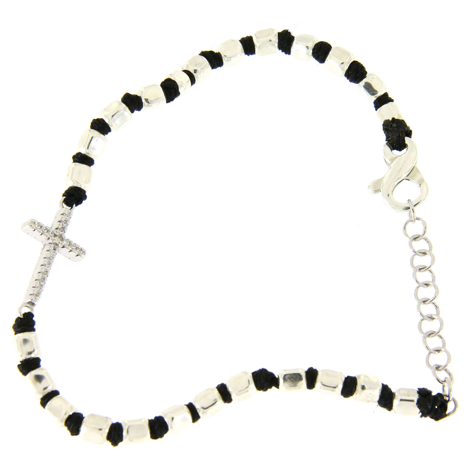 Bracelet with multifaceted silver beads sized 2 mm on a black cotton cord and a white zirconate cross 4