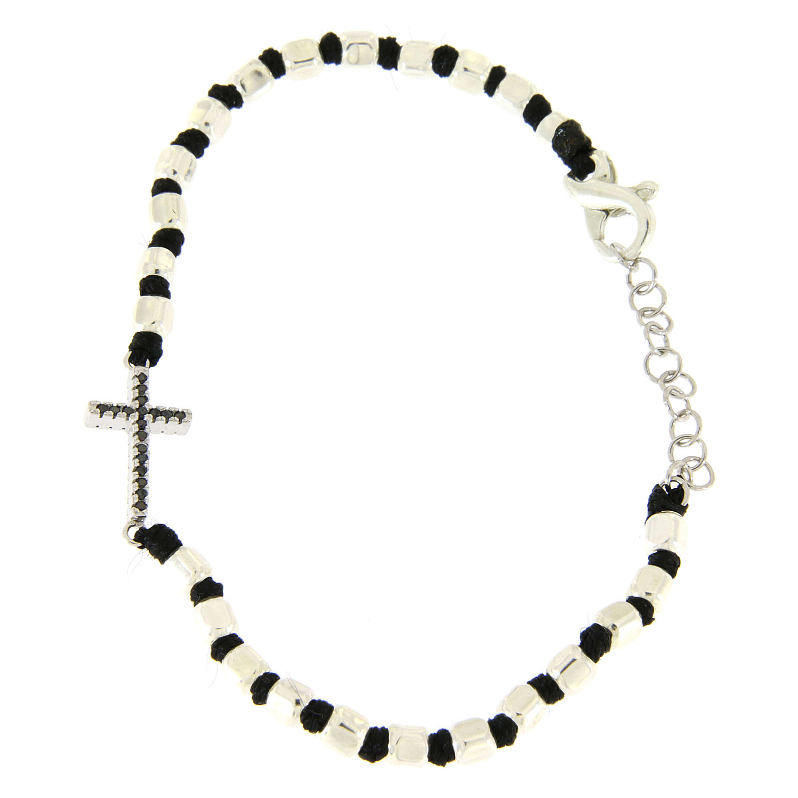 Bracelet with multifaceted silver beads sized 2 mm on a black cotton cord and a black zirconate cross 4