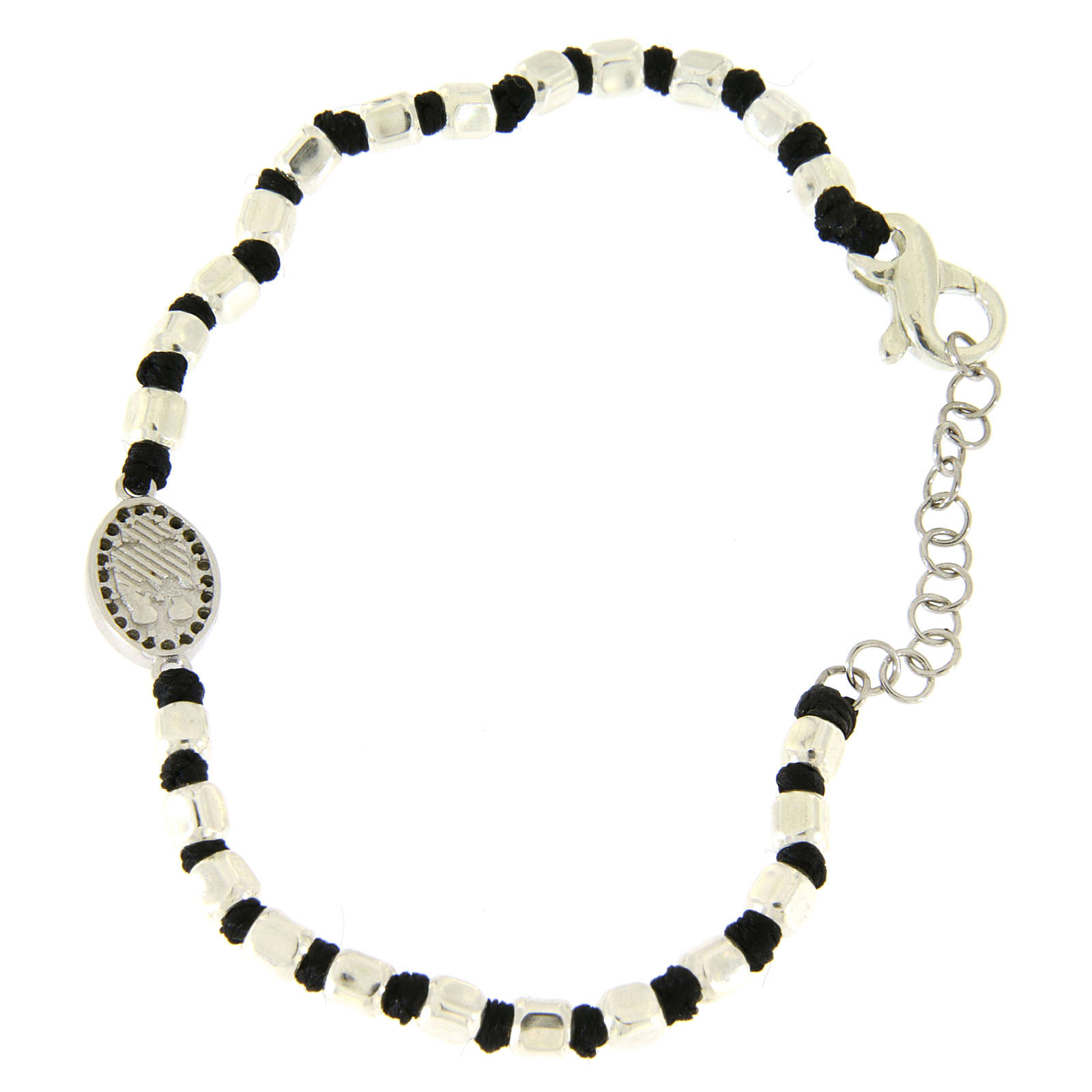 Bracelet with silver beads sized 2 mm on a black cotton cord and a black zirconate Saint Rita medalet 4