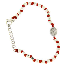 Bracelet with mulitfaceted spheres in silver 2 mm red cotton cord Saint Rita white zircons s1