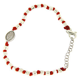 Bracelet with mulitfaceted spheres in silver 2 mm red cotton cord Saint Rita white zircons s2