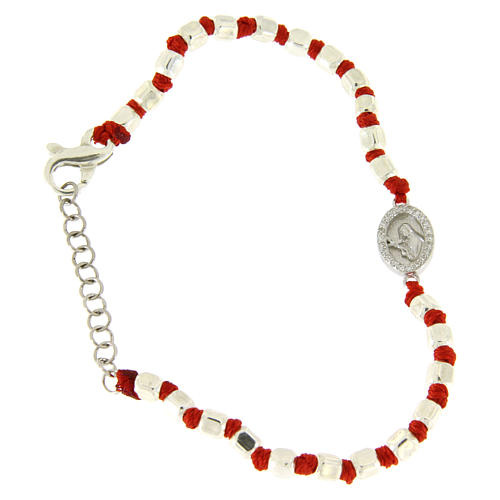 Bracelet with mulitfaceted spheres in silver 2 mm red cotton cord Saint Rita white zircons 1