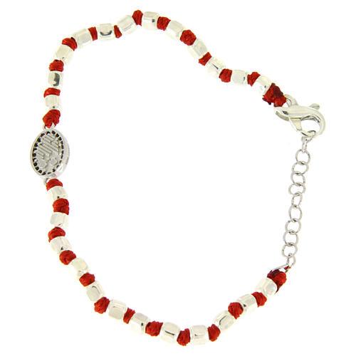 Pulsera esferas talladas plata 2 mm, pequeña medalla S. Rita zircones negros y cuerda roja de algodón 2